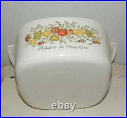 VINTAGE CORNING WARE A-3-B 3 QUART CASSEROLE DISH With PYREX A9C LID-SPICE OF LIFE