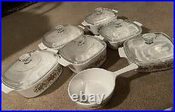 VINTAGE CORNING WARE SPICE OF LIFE 13 PIECE SET L'ECHALOTE Le ROMARIN 1970s-80's