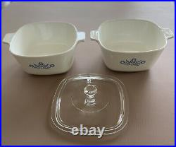 VINTAGE Corning Ware P-1 3/4-B 1-3/4 Quart Cornflower Casserole Dish WithLid RETRO