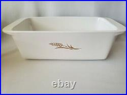 VINTAGE RARE CORNING WARE 196O's W315 GOLD WHEAT 2 QT LOAF BAKING DISH