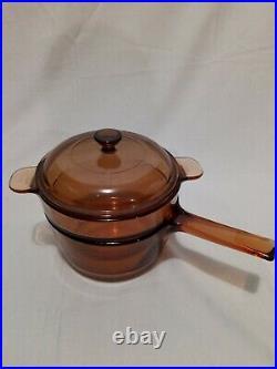 VTG 11 Piece CorningWare Visions Pyrex Amber Glass Cookware Pots Skillet