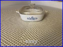 VTG Corning Ware 1 Qt Blue Cornflower Casserole Dish withLid P-1-B USA