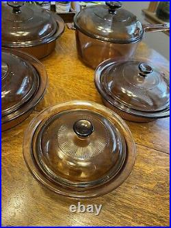 Vintage 11 PC Corning-Vision Ware Clear Amber/Brown Cookware Set With Lids
