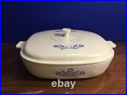 Vintage 1960s Corning Ware Cornflower Blue 10 Bakeware P-10-B Pyrocerum Lid