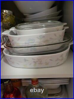 Vintage 1970's corning ware casserole dishes set of 3 Pastel bouquet