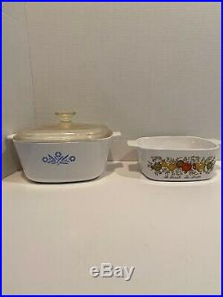 Vintage 1970s Corning Ware Blue Cornflower and Spice of Life