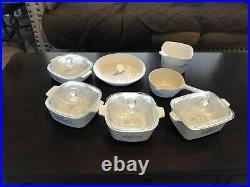 Vintage 7 Pc Set Corning Ware Blue Cornflower w / 4 Lids, See Notes 4 Specifics