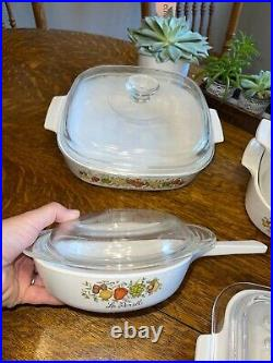 Vintage 9 Piece Set Corning Ware Spice of Life Casserole Dishes EXC! With lids