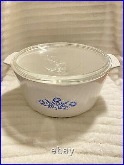 Vintage CORNING WARE N-5-B BLUE CORNFLOWER 5 Quart RANGE TOPPER Milk Glass w Lid