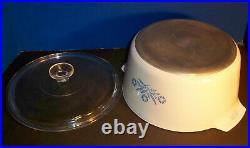 Vintage CORNING WARE N-5-B Blue Cornflower 5 Qt RANGE TOPPER w Lid EUC