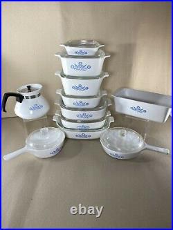 Vintage Corelle Blue Cornflower Bake Dishes Large Collectors Set 20 Pieces