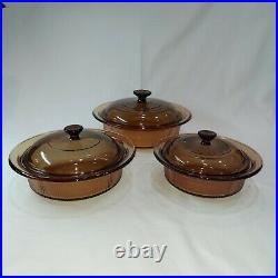 Vintage Corning Pyrex Amber Vision Ware Glass Cookware 12 pc Set