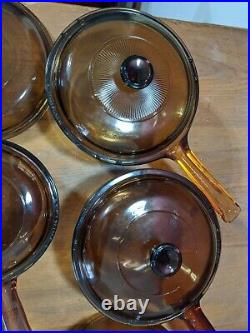 Vintage Corning Pyrex Amber Vision Ware Glass Cookware 12 pc Set Pots & Pans