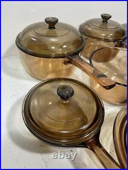 Vintage Corning Pyrex Amber Vision Ware Glass Cookware 12 pc Set Pots Pans
