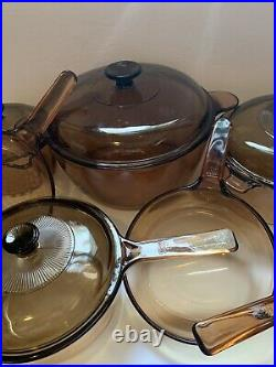 Vintage Corning Pyrex Amber Vision Ware Glass Cookware 14 pc Set Pots & Pans