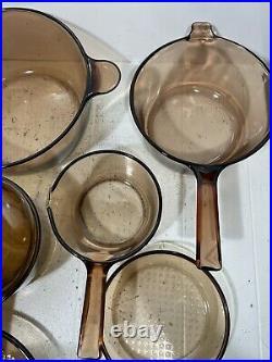 Vintage Corning Pyrex Amber Vision Ware Glass Cookware 15 pc Set Pots Pans
