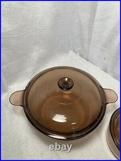 Vintage Corning Pyrex Amber Vision Ware Glass Cookware 8 pc Set Pots & Pans