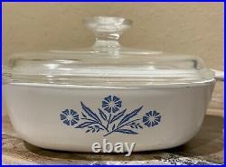 Vintage Corning Ware 1 Qt Blue Cornflower Baking Dish withLid P-1-B 66-69