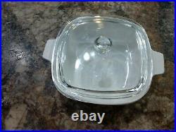 Vintage Corning Ware 1 Quart Casserole Dish Glass Lid P-7-C Cornflower BlueP-1-B