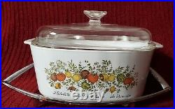 Vintage Corning Ware 5 Quart Spice Of Life Casserole A-5-b With LID With Trivet
