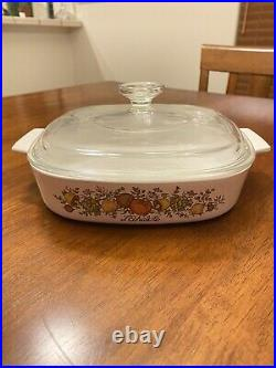 Vintage Corning Ware A-8-B Lechalote Spice of Life Sq. 1.5 Quart Casserole w Lid