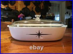 Vintage Corning Ware Atomic Starburst Black Star Casserole Dish 11.5x10x2.25
