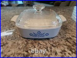 Vintage Corning Ware Blue Cornflower 1 Quart Square Casserole A-1-B with Lid