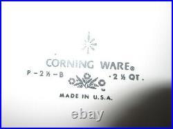 Vintage Corning Ware Blue Cornflower 2-1/2 qt. Casserole Dish withLid P-2-1/2-B