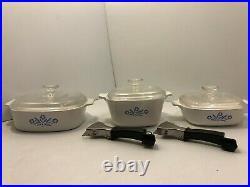 Vintage Corning Ware Blue Cornflower 3 piece set