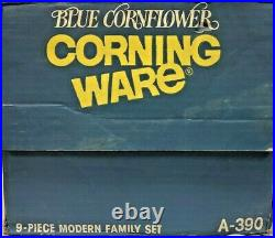 Vintage Corning Ware Blue Cornflower 9 Piece Modern Family Set in Original Box