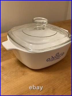 Vintage Corning Ware Blue Cornflower Casserole Dish Bowl P-1/2-B With Lid 1.5 Qt