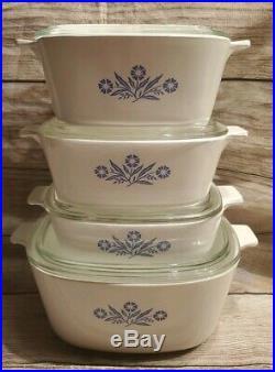 Vintage Corning Ware Blue Cornflower Casserole Dish Set 4 pieces With Lids