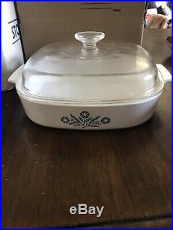 Vintage Corning Ware Blue Cornflower Casserole With Pyrex LID 2.5 Liter A-10-B