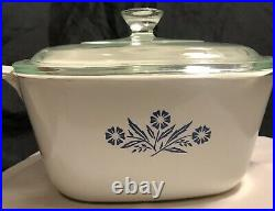 Vintage, Corning Ware Blue Cornflower P-1 3/4-B with Lid