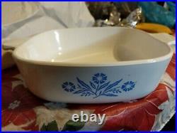 Vintage Corning Ware Blue Cornflower P-1-B 9.5 Casserole 1 qt lid chipped