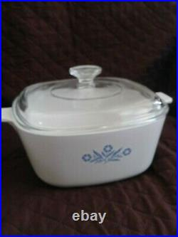 Vintage Corning Ware Blue Cornflower P-2 1/2-B Quart Casserole 2.5qt 1960s USA
