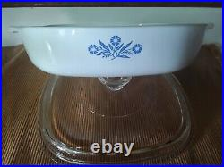 Vintage Corning Ware Blue Cornflower P-9-B Casserole Dish Rare Stamp, Pyrex Lid