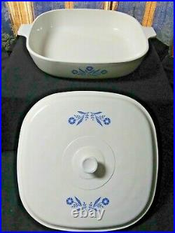 Vintage Corning Ware Blue Cornflower RARE Early Mark 10'' Casserole Dish WithLid