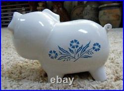 Vintage Corning Ware Blue Cornflower Smiling Pig Piggy Bank with Stopper