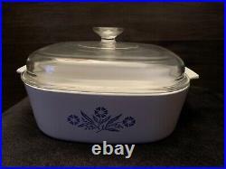 Vintage Corning Ware Blue Cornflower with Lid Antique Bakeware