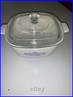 Vintage Corning Ware Blue Cornflower with lid P-1 3/4-B. (1 & 3/4 Quart)