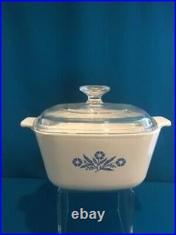 Vintage Corning Ware Cornflower Blue Casserole Dish & Lid, 1-3/4 qt, P-1-3/4-B
