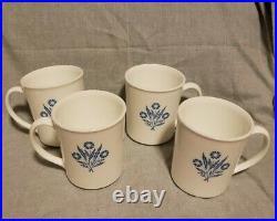 Vintage Corning Ware Cornflower Coffee Mug Cup Glass Lot of 4