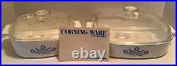 Vintage Corning Ware Duet Set Blue Cornflower Covered Casseroles A-99 Nos