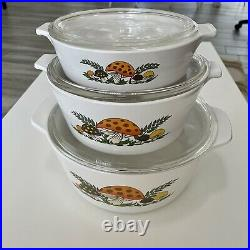 Vintage Corning Ware Merry Mushroom 3 Pc. Casserole Dishes. 4, 2.5, & 1qt withlids