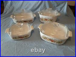 Vintage Corning Ware Microwaveable Glass White Floral Spice of Life Pattern