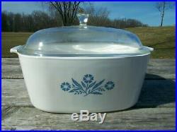 Vintage Corning Ware P-84-B Blue Cornflower 4 qt Casserole With Glass Lid CL4