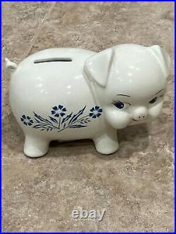 Vintage Corning Ware Pig Piggy Bank Blue Cornflower Corningware White Pig