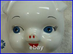 Vintage Corning Ware Pig Piggy Bank Blue Cornflower England Original Stopper EUC
