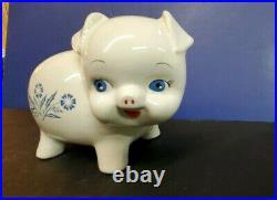 Vintage Corning Ware Pig Piggy Bank Cornflower Blue Pattern England No Stopper
